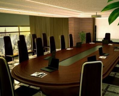 3D visualization of the interior of the conference room