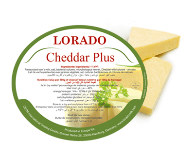 "Label for cheese ""Chedder Plus"""